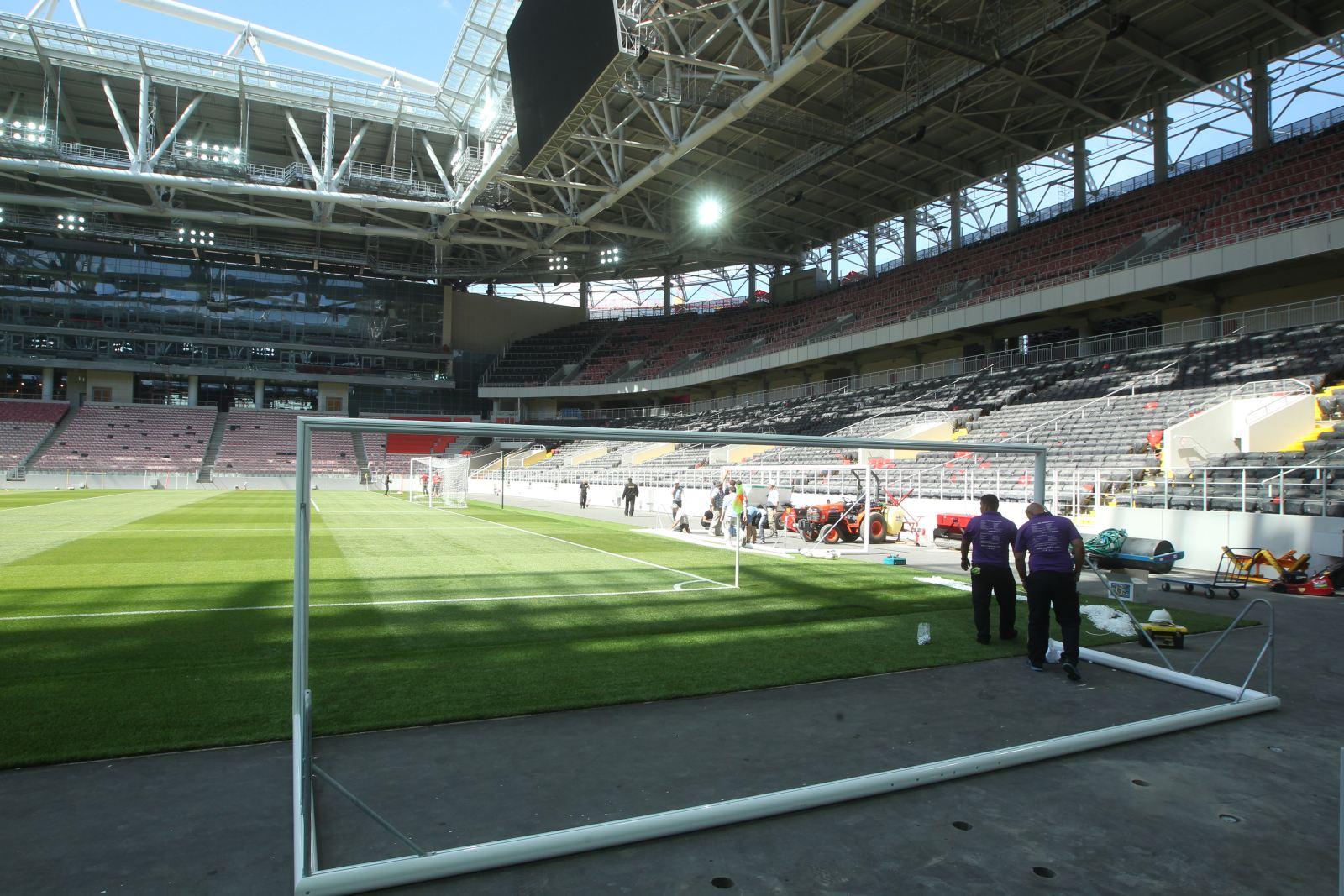 На стадионе «Спартака» «Открытие Арена» презентовали готовое поле (Фото)